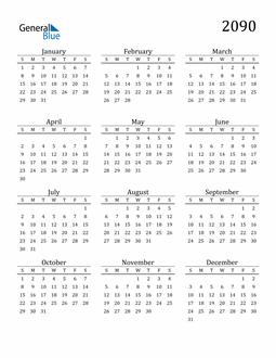 Image of 2090 2090 Printable Calendar Classic