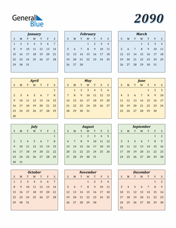 Image of 2090 2090 Calendar with Color