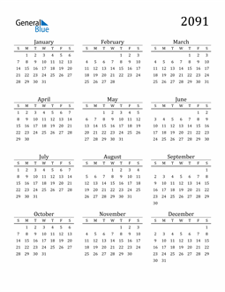 Image of 2091 2091 Printable Calendar Classic