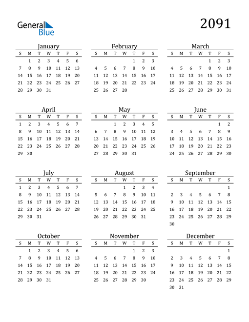 Image of 2091 2091 Printable Calendar Classic