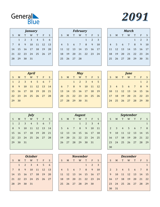 Image of 2091 2091 Calendar with Color