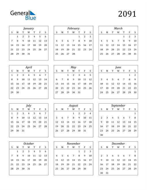 Image of 2091 2091 Calendar Streamlined