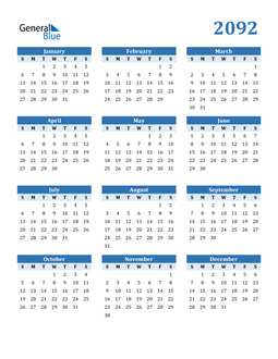 Image of 2092 2092 Calendar Blue with No Borders