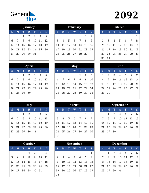 Image of 2092 2092 Calendar Stylish Dark Blue and Black