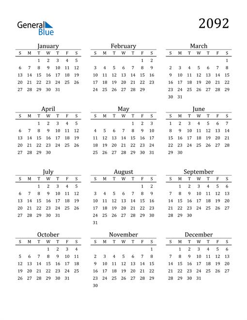 Image of 2092 2092 Printable Calendar Classic