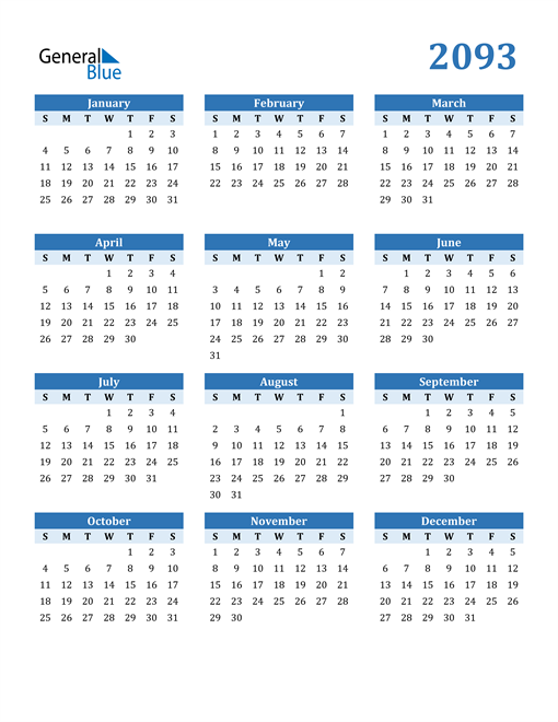 Image of 2093 2093 Calendar Blue with No Borders