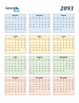 Image of 2093 2093 Calendar with Color
