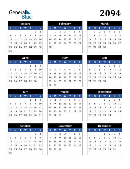 Image of 2094 2094 Calendar Stylish Dark Blue and Black