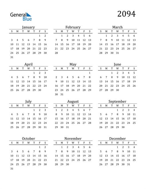 Image of 2094 2094 Printable Calendar Classic