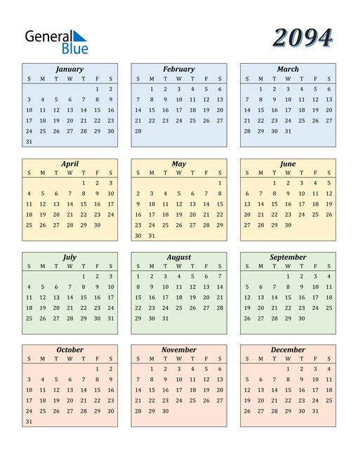Image of 2094 2094 Calendar with Color