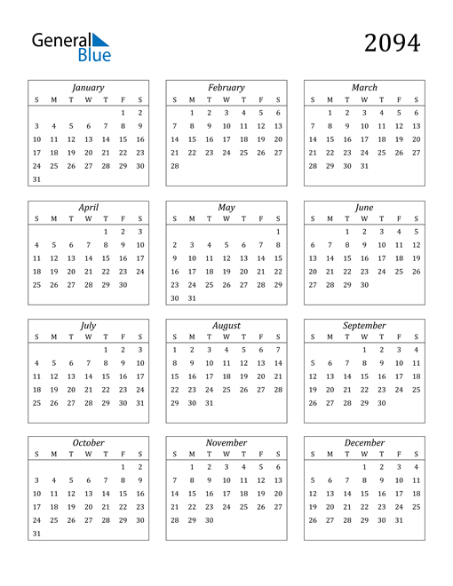 Image of 2094 2094 Calendar Streamlined