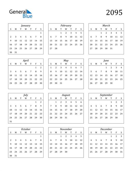 Image of 2095 2095 Calendar Streamlined