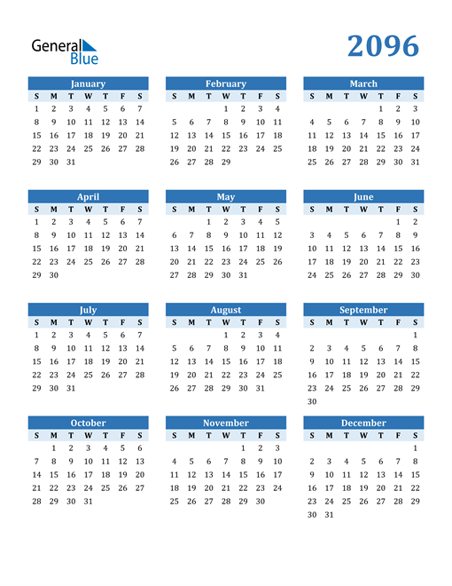 Image of 2096 2096 Calendar Blue with No Borders