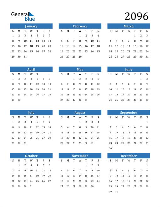 Image of 2096 2096 Calendar