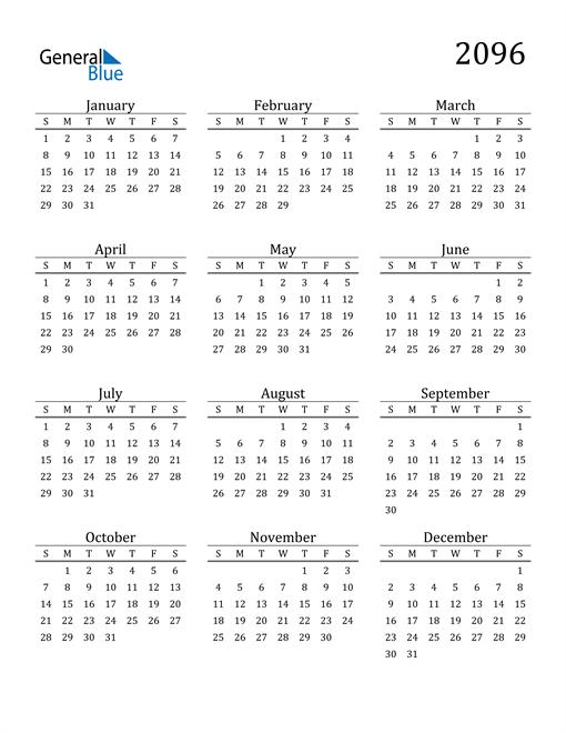 Image of 2096 2096 Printable Calendar Classic