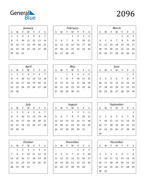 Image of 2096 2096 Calendar Streamlined