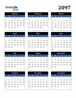 Image of 2097 2097 Calendar Stylish Dark Blue and Black