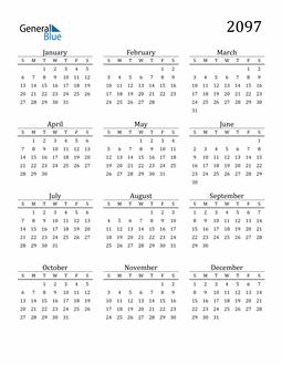 Image of 2097 2097 Printable Calendar Classic