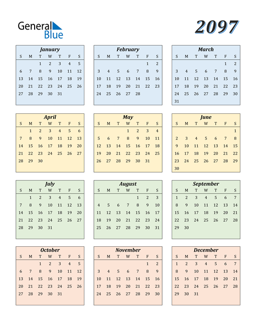 Image of 2097 2097 Calendar with Color