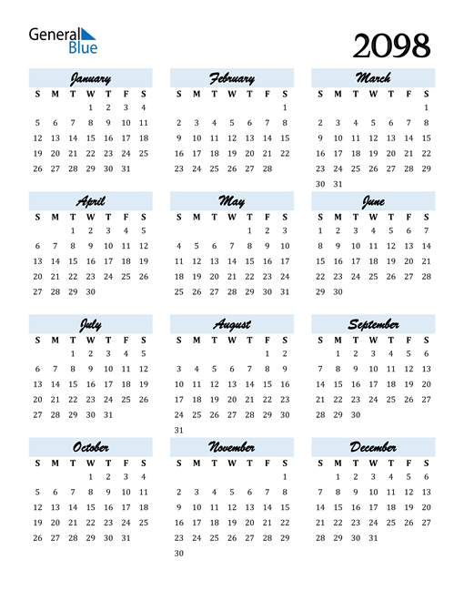 Image of 2098 2098 Calendar Cool and Funky