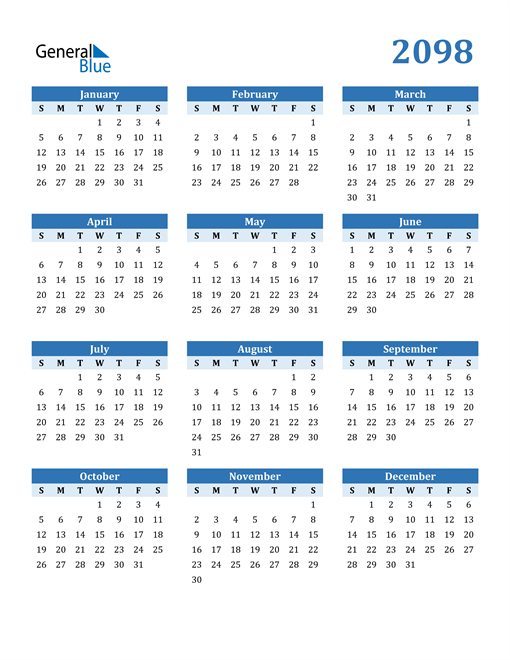 Image of 2098 2098 Calendar Blue with No Borders