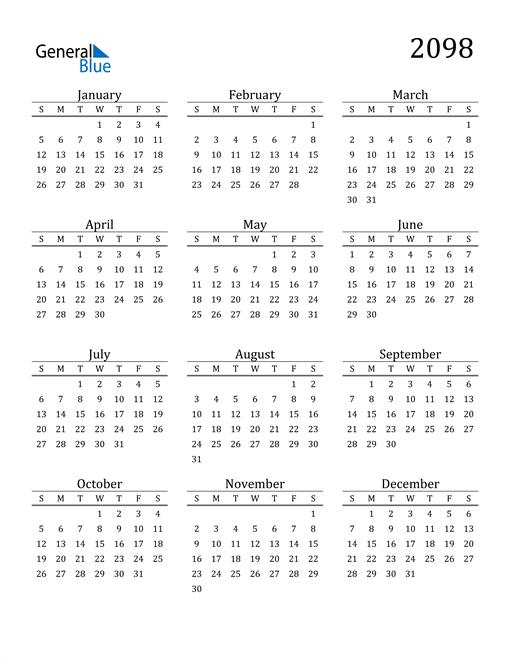 Image of 2098 2098 Printable Calendar Classic