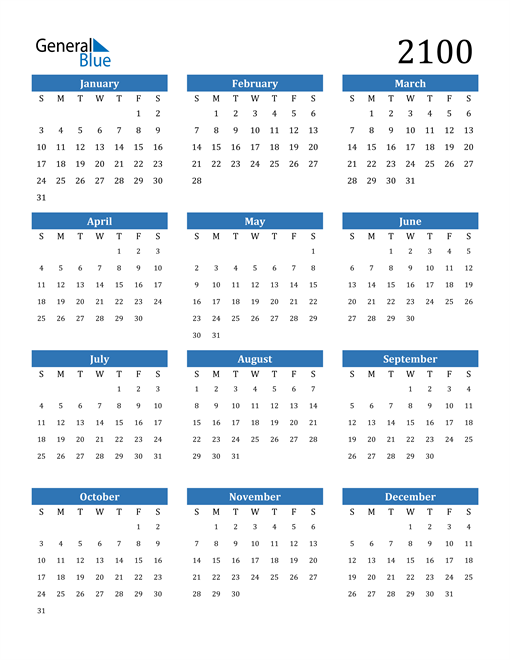 Image of 2100 2100 Calendar