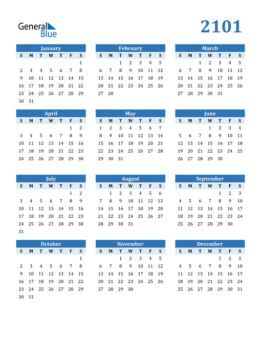Image of 2101 2101 Calendar Blue with No Borders