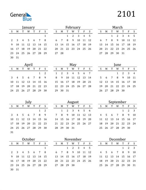 Image of 2101 2101 Printable Calendar Classic