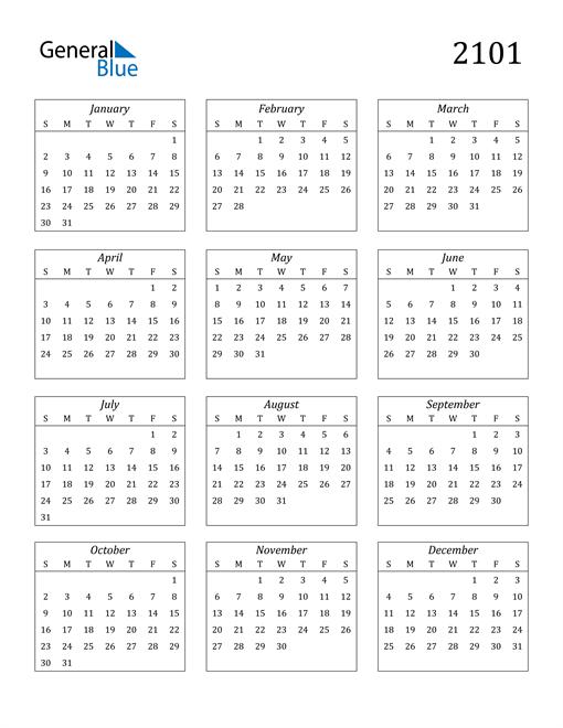 Image of 2101 2101 Calendar Streamlined