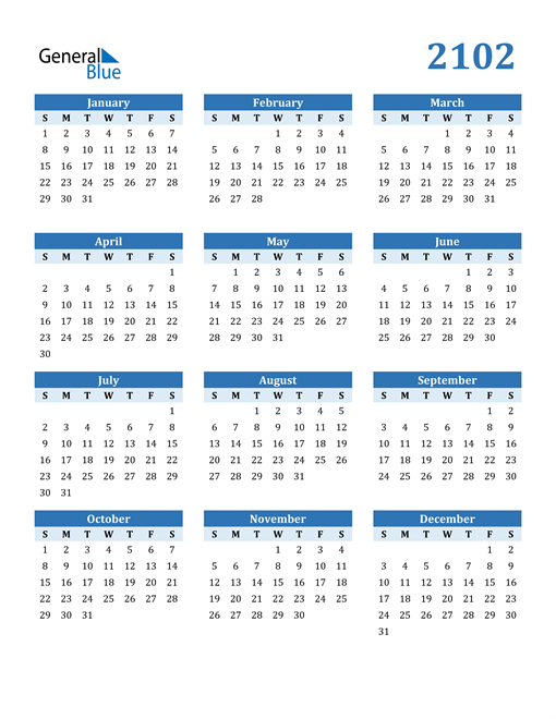 Image of 2102 2102 Calendar Blue with No Borders