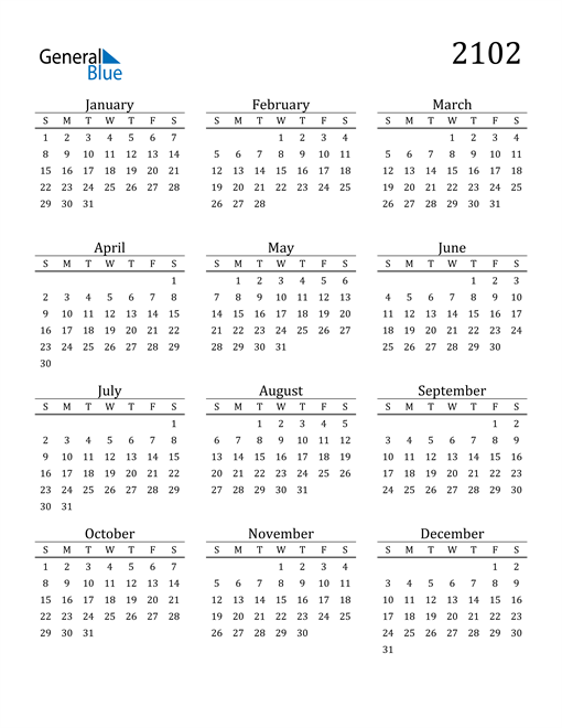 Image of 2102 2102 Printable Calendar Classic