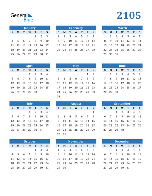 Image of 2105 2105 Calendar Blue with No Borders