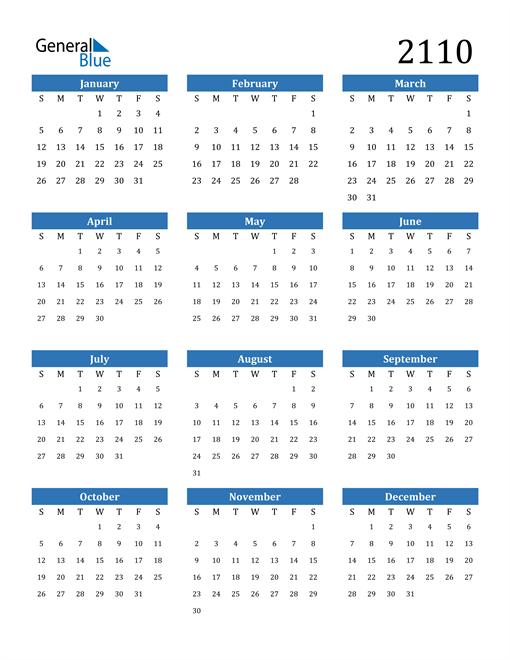Image of 2110 2110 Calendar