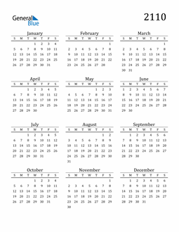Image of 2110 2110 Printable Calendar Classic