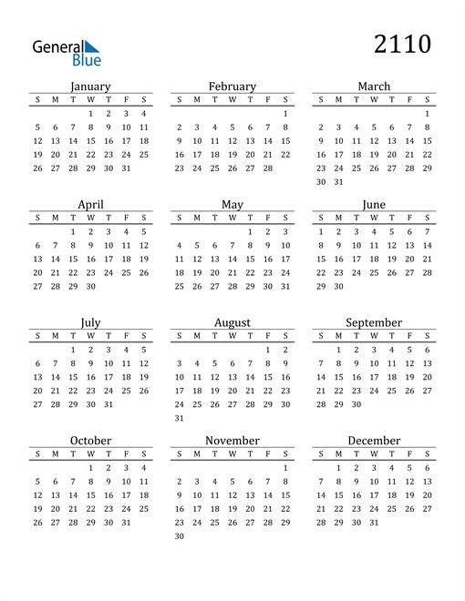 Image of 2110 2110 Printable Calendar Classic