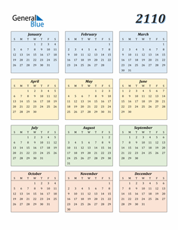 Image of 2110 2110 Calendar with Color