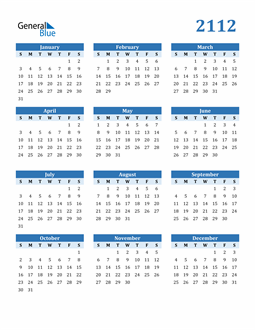 Image of 2112 2112 Calendar Blue with No Borders
