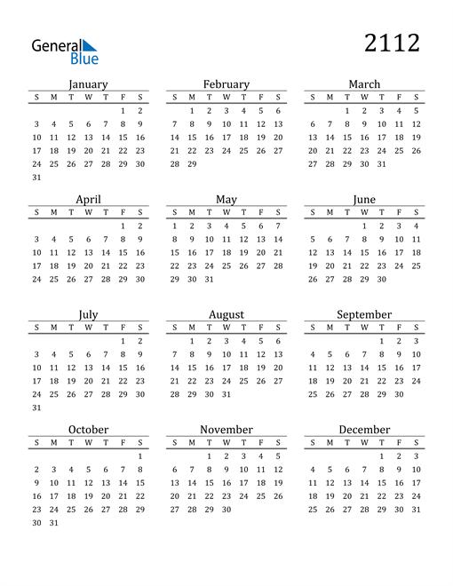 Image of 2112 2112 Printable Calendar Classic