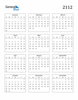 Image of 2112 2112 Calendar Streamlined