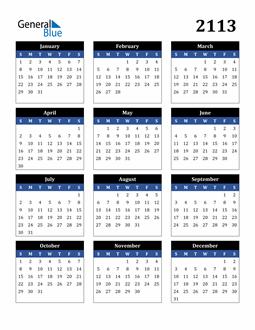 Image of 2113 2113 Calendar Stylish Dark Blue and Black