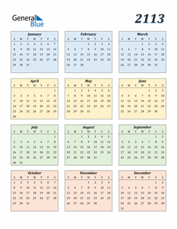 Image of 2113 2113 Calendar with Color