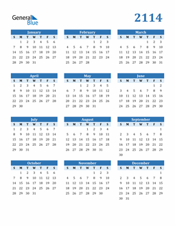 Image of 2114 2114 Calendar Blue with No Borders