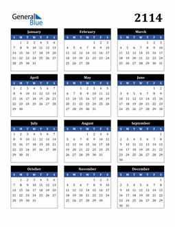 Image of 2114 2114 Calendar Stylish Dark Blue and Black