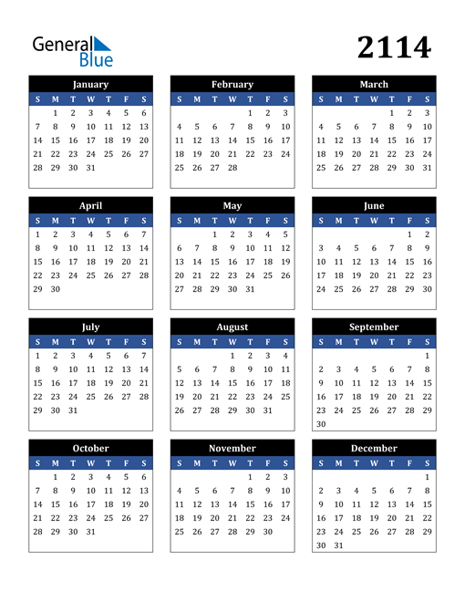 Image of 2114 2114 Calendar Stylish Dark Blue and Black