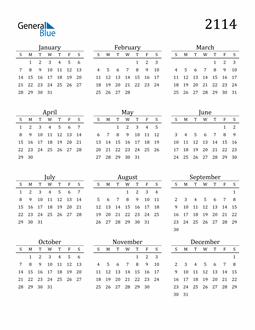 Image of 2114 2114 Printable Calendar Classic