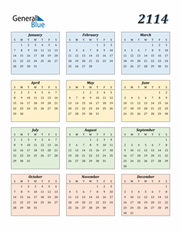 Image of 2114 2114 Calendar with Color