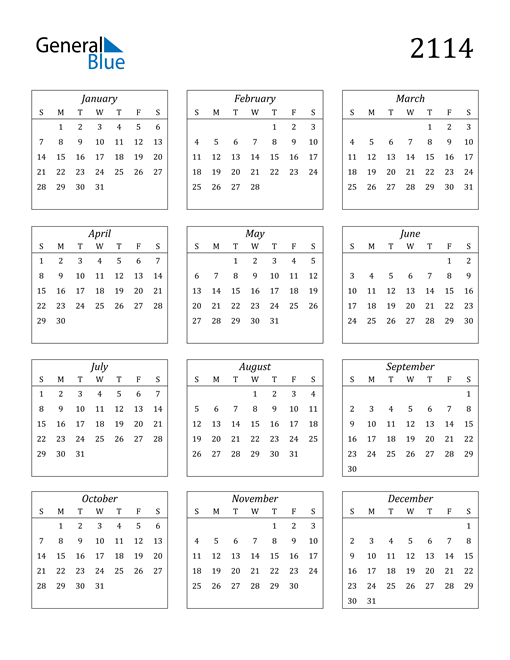 Image of 2114 2114 Calendar Streamlined
