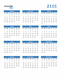 Image of 2115 2115 Calendar Blue with No Borders