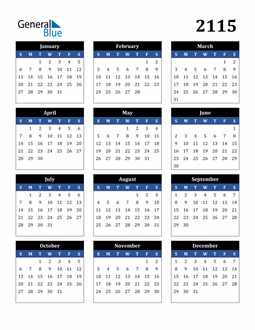 Image of 2115 2115 Calendar Stylish Dark Blue and Black